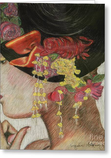 Flowing Drawings Greeting Cards - Lady With Hat Greeting Card by Jacqueline Athmann