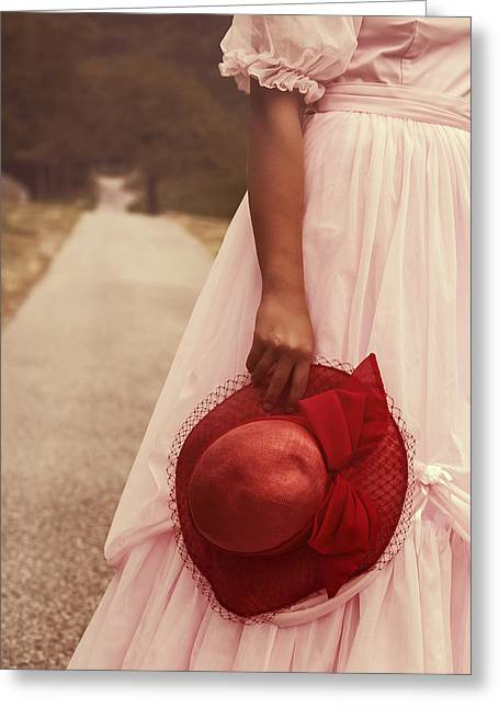 Wedding Garment Greeting Cards - Lady With Hat Greeting Card by Joana Kruse