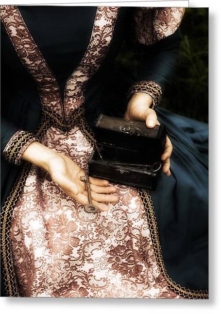 Chest Greeting Cards - Lady With Keys Greeting Card by Joana Kruse