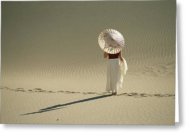 Model Colorado Greeting Cards - Lady With Parasol Standing In Sand Greeting Card by Kate Thompson