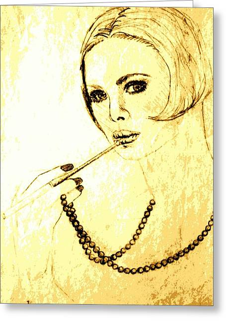 Cigarette Holder Greeting Cards - Lady with Pearl Necklace Greeting Card by Sheri Parris