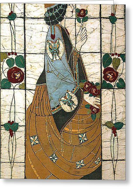 Lady Tapestries - Textiles Greeting Cards - Lady With The Rose Greeting Card by Alexandra  Sanders