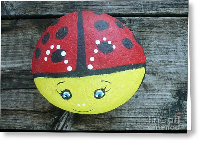 Cute Sculptures Greeting Cards - Ladybug Greeting Card by Monika Dickson-Shepherdson