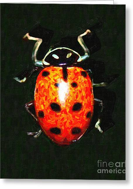 Ladybug Greeting Card by Wingsdomain Art and Photography