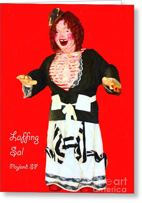Humourous Greeting Cards - Laffing Sal - Playland at The Beach - San Francisco - 7D14361 - Red with Text Greeting Card by Wingsdomain Art and Photography