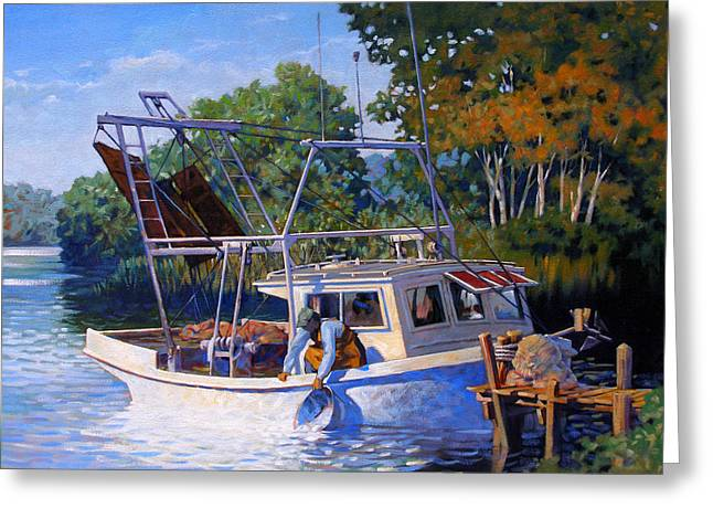 Shrimp Boat Greeting Cards - Lafitte Skiff Greeting Card by Kevin Lawrence Leveque