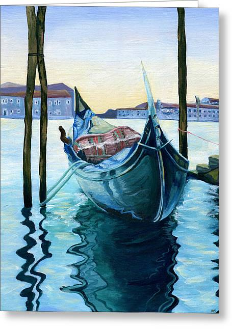 Canoe Paintings Greeting Cards - Lagoon Greeting Card by Michelle Sheppard