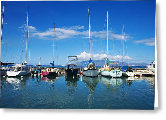 Lahaina Greeting Cards - Lahaina in Blue Greeting Card by Ron Dahlquist - Printscapes