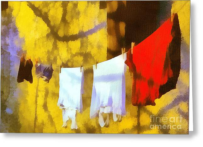 Recently Sold -  - Gold Lame Greeting Cards - Laid out to dry Greeting Card by Odon Czintos