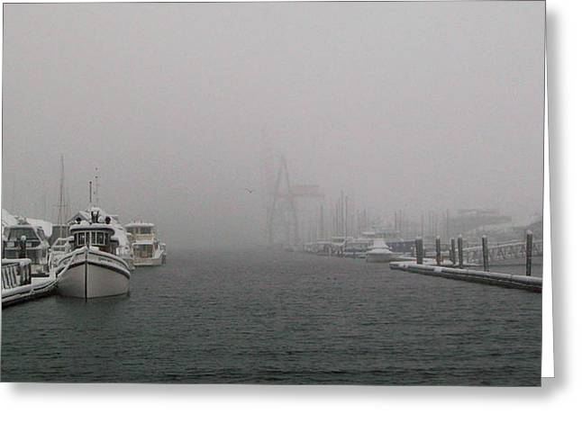 Boats In Harbor Digital Art Greeting Cards - Laid Up II Greeting Card by Michael Wyatt