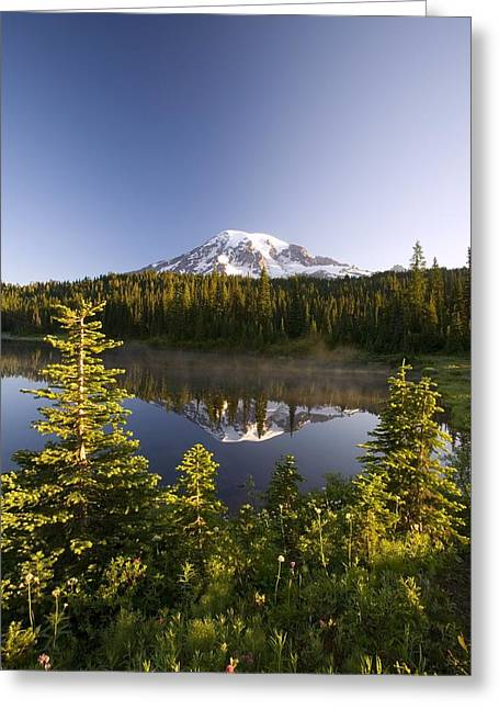 Lake And Mount Rainier, Mount Rainier Greeting Card by Craig Tuttle