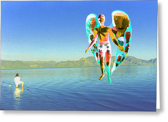 Seraphim Angel Greeting Cards - Lake Angel Greeting Card by Richard Omura
