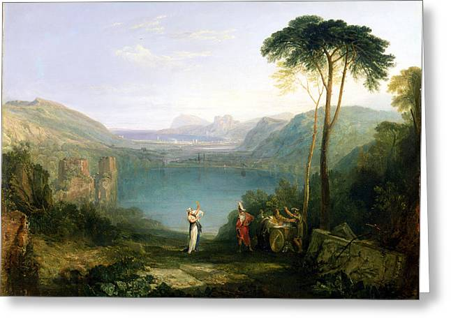 Virgil Greeting Cards - Lake Avernus - Aeneas and the Cumaean Sibyl Greeting Card by Joseph Mallord William Turner