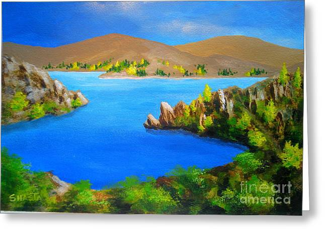 Shasta Eone Greeting Cards - LAKE  AVIEMORE - - fine art impressionist serenity landscape Greeting Card by Shasta Eone