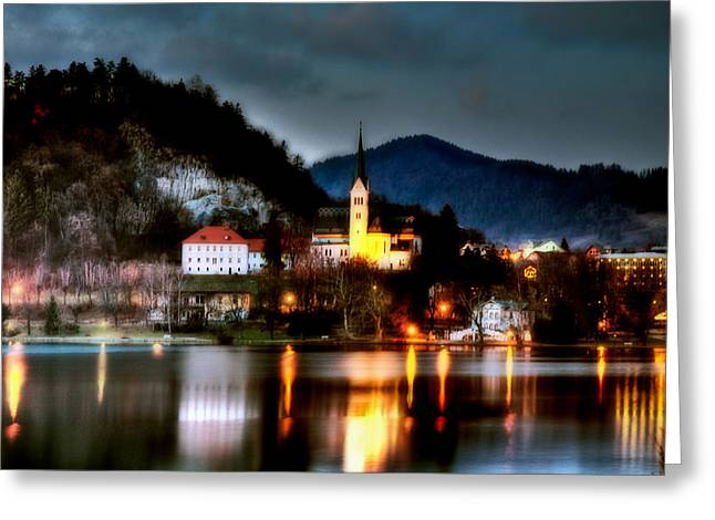 Sun Peaks Resort Greeting Cards - Lake Bled. Church. Slovenia Greeting Card by Juan Carlos Ferro Duque