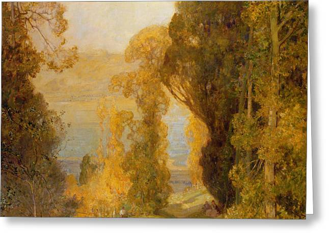 Lake Bourget from Mont Revard  Greeting Card by Sir Alfred East