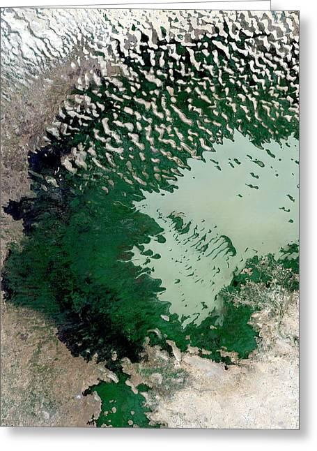 Dry Lake Greeting Cards - Lake Chad Greeting Card by Planetobserver