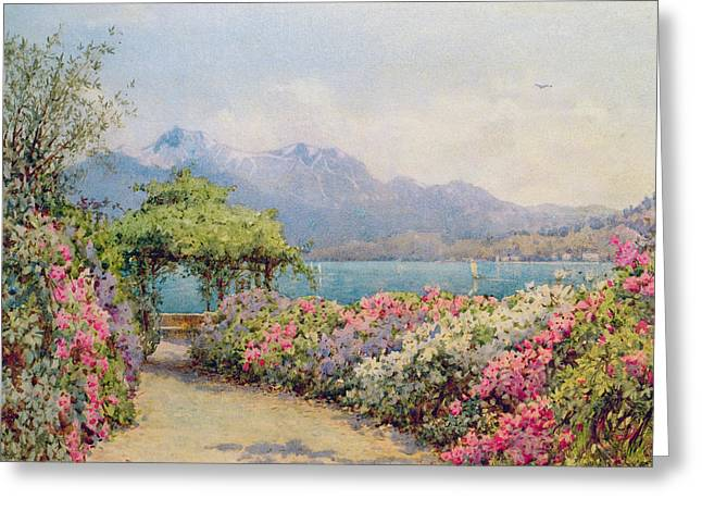 Villa Paintings Greeting Cards - Lake Como from the Villa Carlotta Greeting Card by Ernest Arthur Rowe