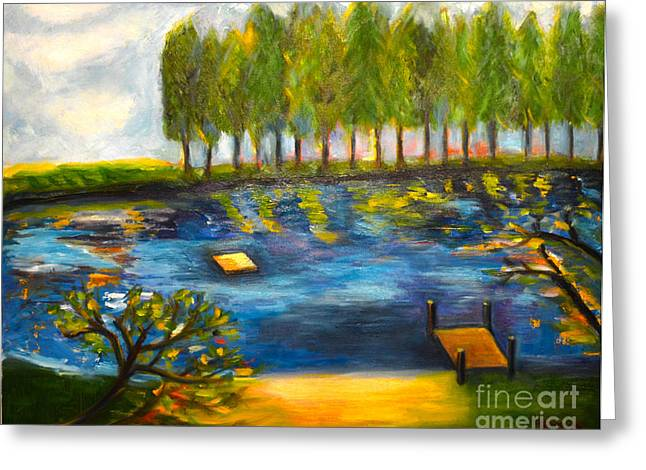 Canvas Framing Paintings Greeting Cards - Lake Day Greeting Card by Karen Francis