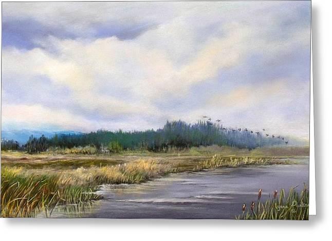 Wildlife Refuge. Pastels Greeting Cards - Lake Earl 1 Greeting Card by Lynne Parker