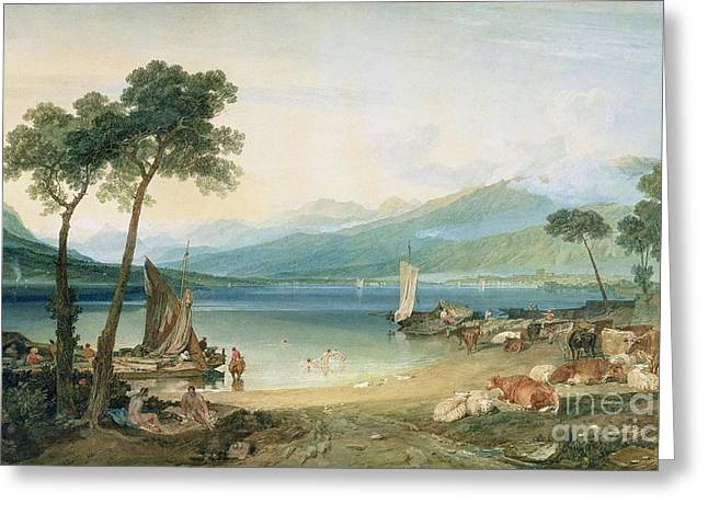 Sea Animals Greeting Cards - Lake Geneva and Mont Blanc Greeting Card by Joseph Mallord William Turner