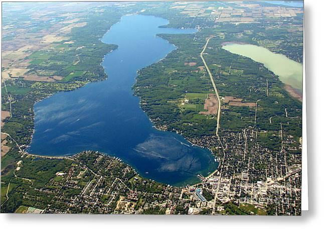Bill Lang Greeting Cards - G-028 Geneva Lake and Como Lake Wisconsin Greeting Card by Bill Lang