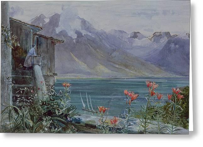 Lake Geneva Greeting Cards - Lake Geneva Greeting Card by John William Inchbold
