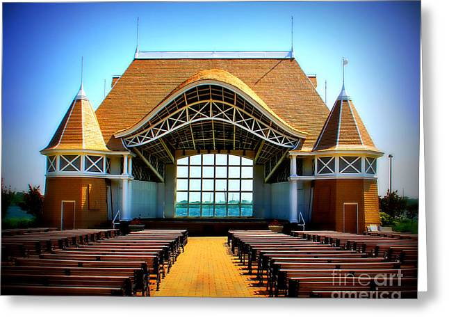 Bandstand Greeting Cards - Lake Harriet Bandshell Greeting Card by Perry Webster
