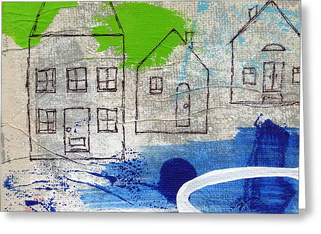 Blue House Greeting Cards - Lake Houses Greeting Card by Linda Woods