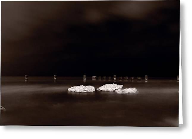 Chicago Black White Greeting Cards - Lake Ice Greeting Card by Steve Gadomski