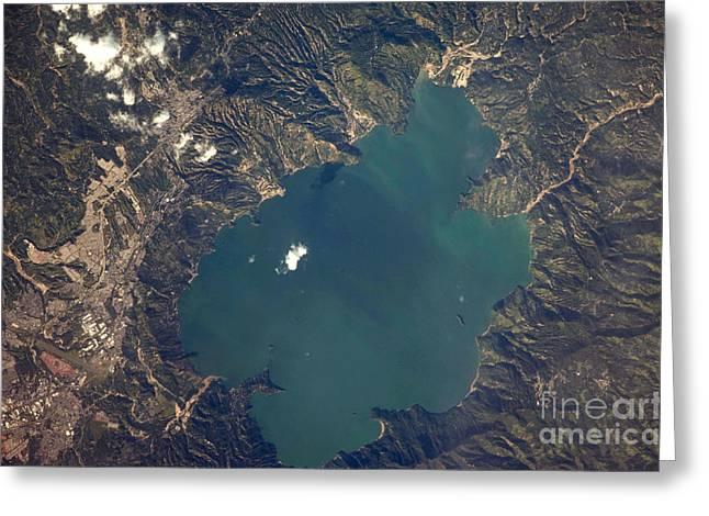 El Salvador Greeting Cards - Lake Ilopango, El Salvador Greeting Card by NASA/Science Source