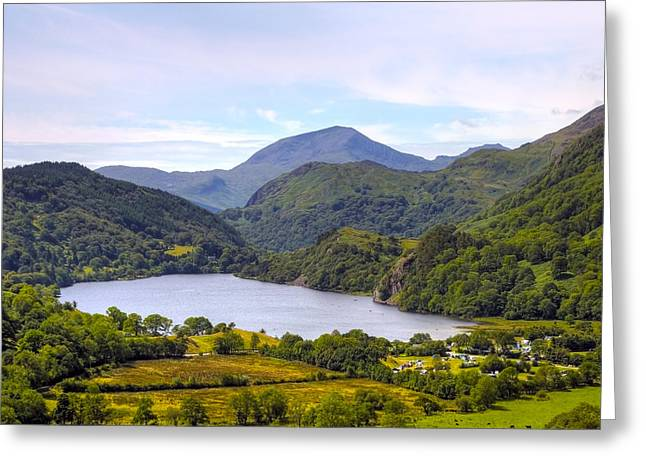 Hill Top Village Greeting Cards - Lake in Snowdonia Greeting Card by Svetlana Sewell