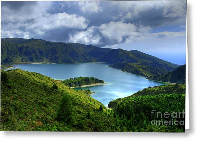 Azoren Greeting Cards - Lake in the Azores Greeting Card by Gaspar Avila