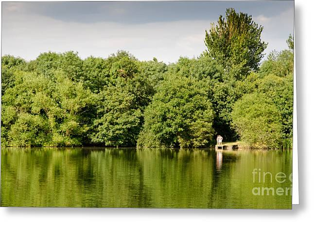 Landscapes Greeting Cards - LAKE JETTY dinton pastures lakes and nature reserve shore line Greeting Card by Andy Smy