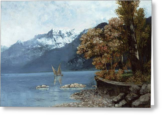 1874 Greeting Cards - Lake Leman Greeting Card by Gustave Courbet