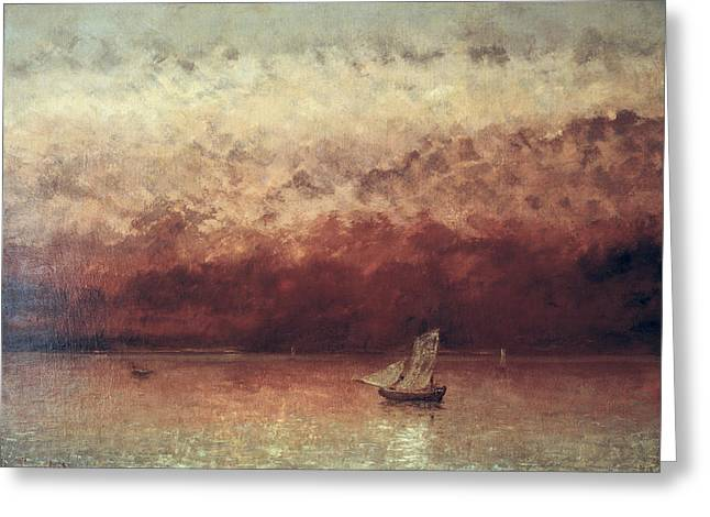 Austria Paintings Greeting Cards - Lake Leman with Setting Sun Greeting Card by Gustave Courbet