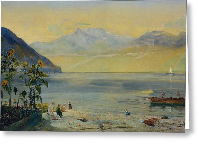 Sailboats In Harbor Greeting Cards - Lake Leman with the Dents du Midi in the Distance Greeting Card by John William Inchbold