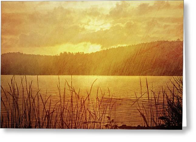 Vintage Landscapes Greeting Cards - Lake Light Vintage Greeting Card by Lutz Baar