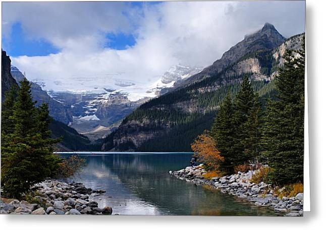 Alberta Water Falls Greeting Cards - Lake Louise Greeting Card by Larry Ricker