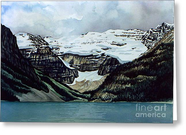 Scott Nelson Paintings Greeting Cards - Lake Louise Greeting Card by Scott Nelson