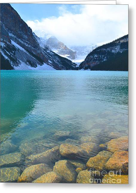 Rocky Mountain National Park Framed Prints Greeting Cards - Lake Louise Shore Greeting Card by Andrea Hazel Ihlefeld