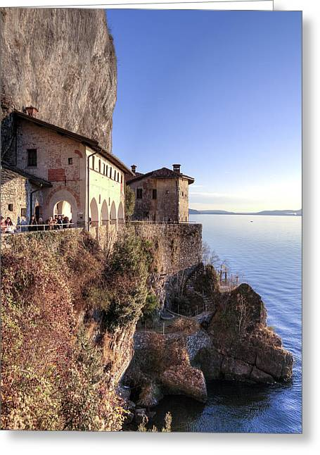 Hermit Greeting Cards - Lake Maggiore Santa Caterina del Sasso Greeting Card by Joana Kruse