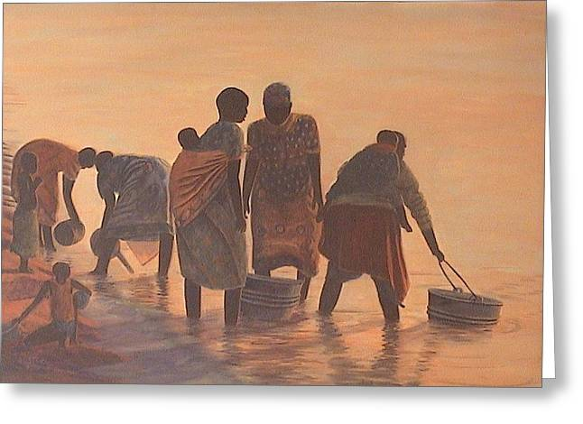 Poor People Greeting Cards - Lake Malawi Women at Sunrise Greeting Card by Nisty Wizy