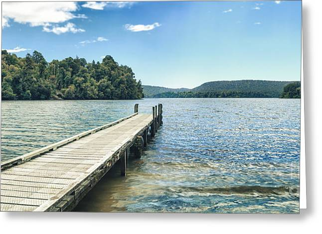 Jetty View Park Greeting Cards - Lake Mapourika panorama Greeting Card by MotHaiBaPhoto Prints