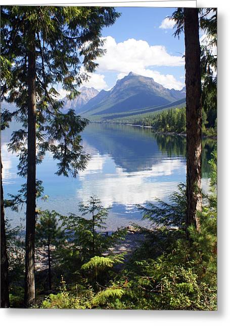 Marty Koch Greeting Cards - Lake McDlonald Through the Trees Glacier National Park Greeting Card by Marty Koch