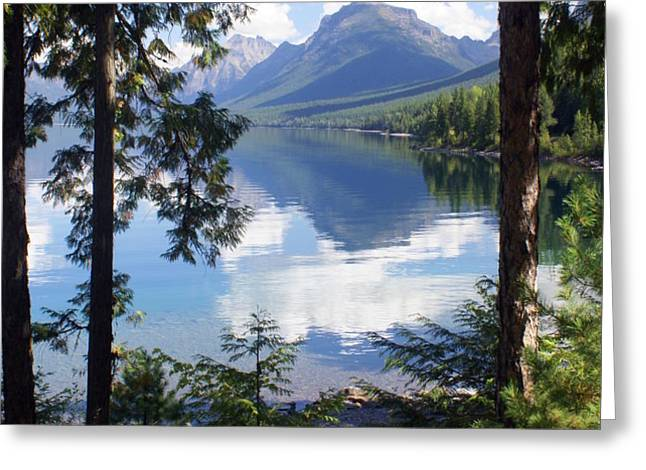 Lake McDlonald Through the Trees Glacier National Park Greeting Card by Marty Koch