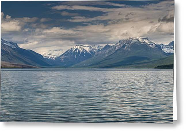 Lake Mcdonald Greeting Cards - Lake McDonald Panorama Greeting Card by Greg Nyquist