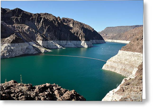 Desert Lake Greeting Cards - Lake Mead by Hoover Dam Greeting Card by Gary Whitton
