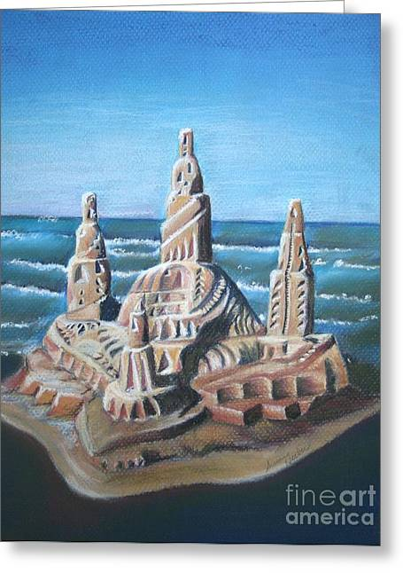Sand Castles Pastels Greeting Cards - Lake Michigan Castle Greeting Card by Susan Herber