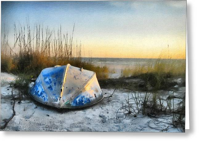 Sandy Beaches Greeting Cards - Lake Michigan Sunset Greeting Card by Tom Schmidt